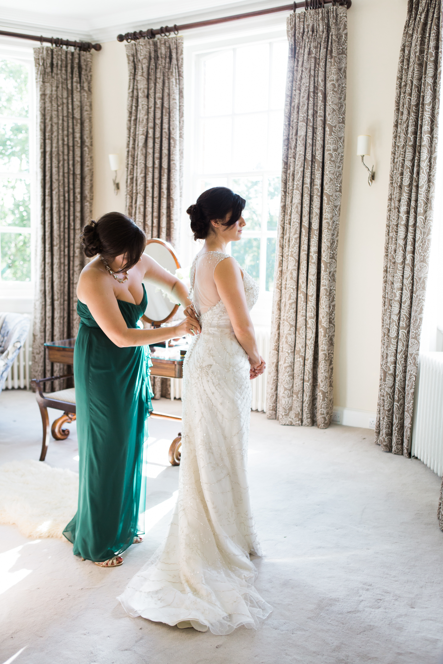 An elegant summer Iscoyd Park wedding. Fine art wedding photography at Iscoyd Park featuring bridal preparations in the bridal suite.