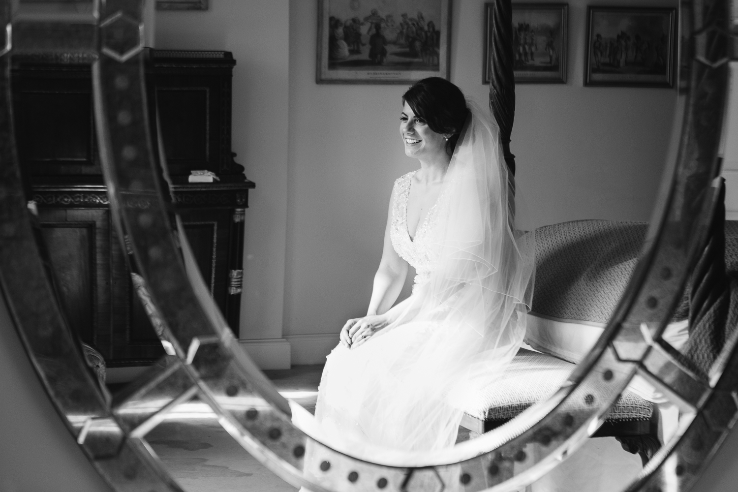 An elegant summer Iscoyd Park wedding. Bridal portraits in the bridal suite at Iscoyd Park.