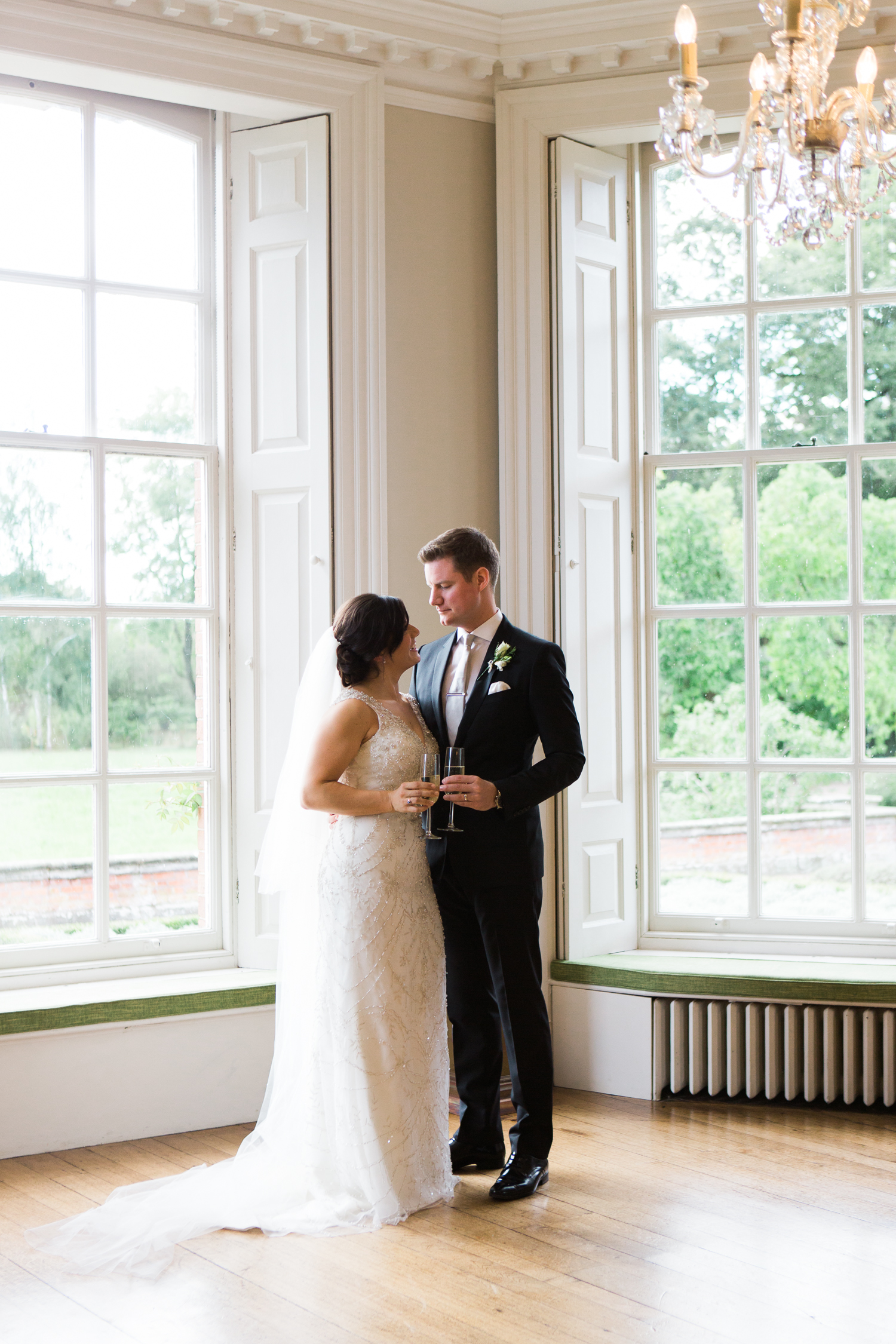 Elegant bride and groom at Iscoyd Park wedding photo