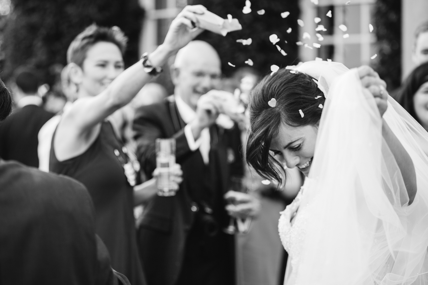 Black and white documentary wedding photography at Iscoyd Park photo