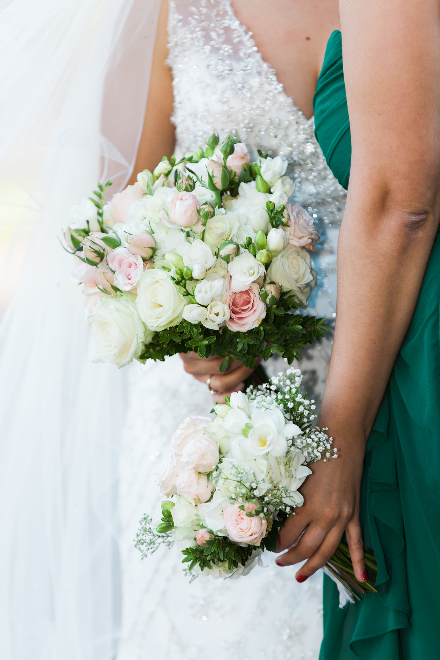 Bride and bridesmaids bouquets at Iscoyd Park wedding photo