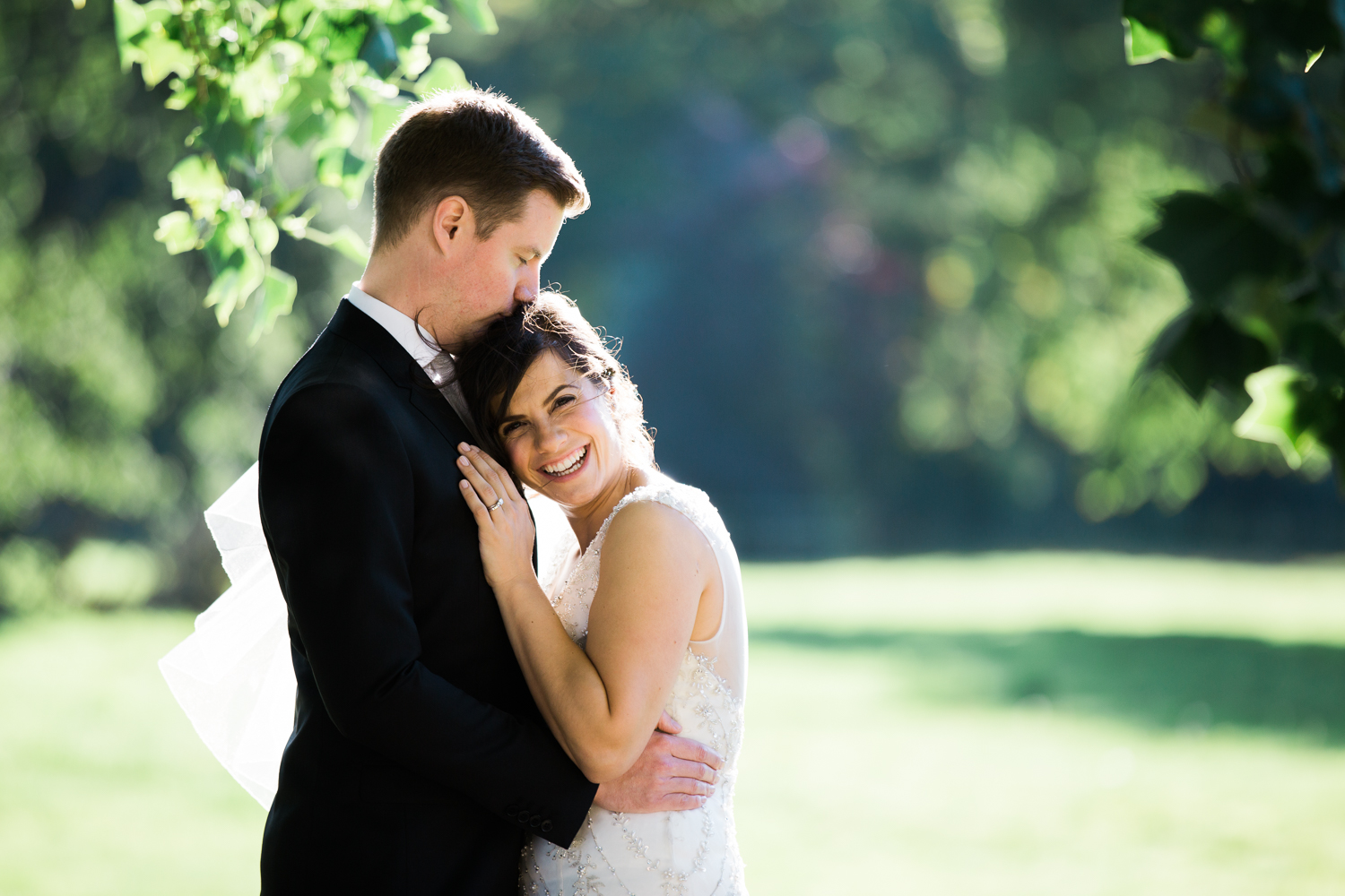 Bride and groom for an elegant Iscoyd Park summer wedding photo