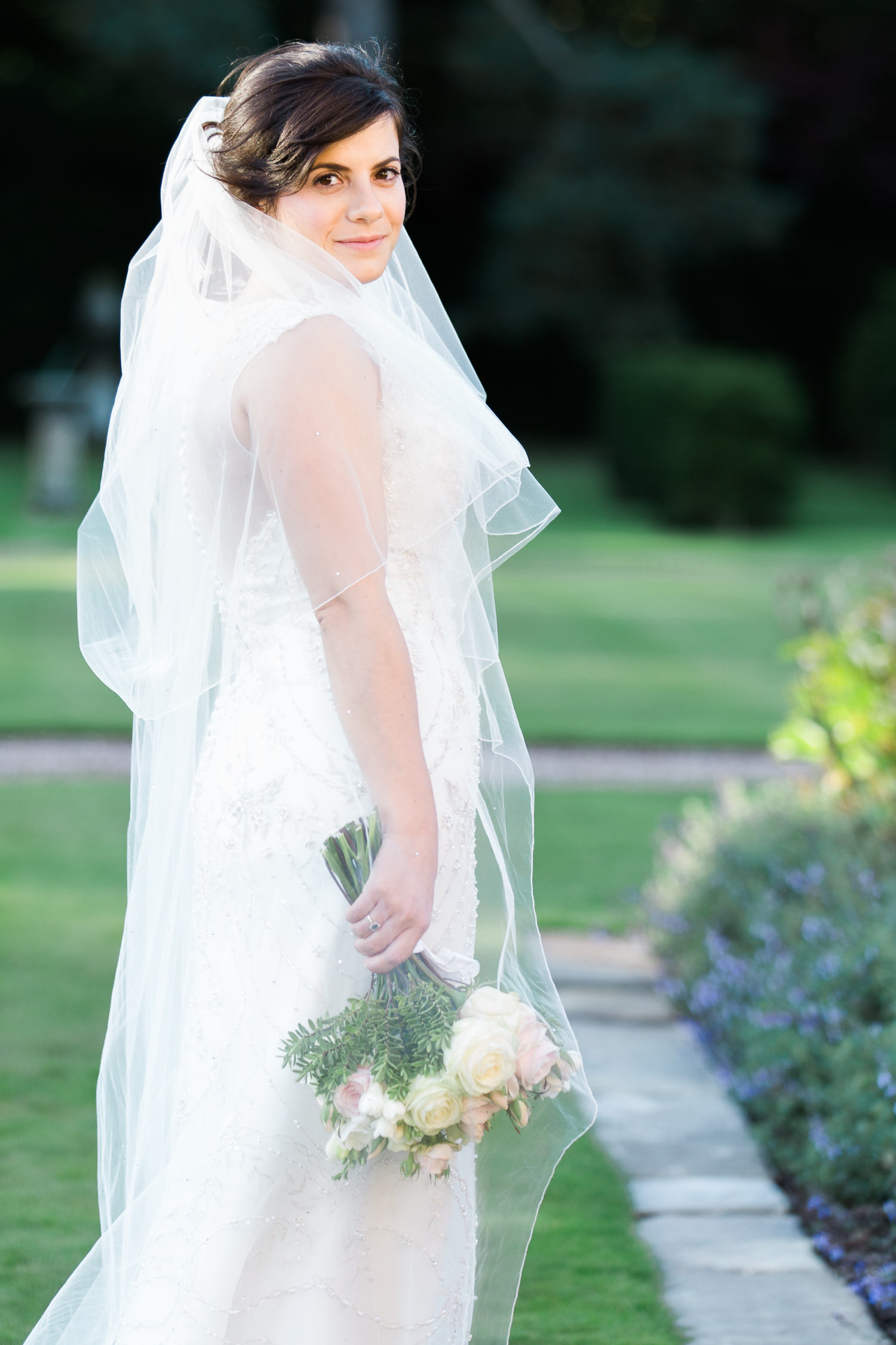 Elegant bride in Justin Alexander at Iscoyd Park Wedding photo