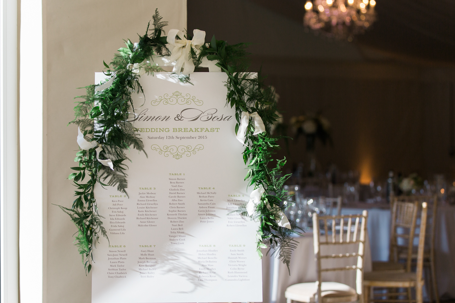 Table plan at Iscoyd Park wedding photo