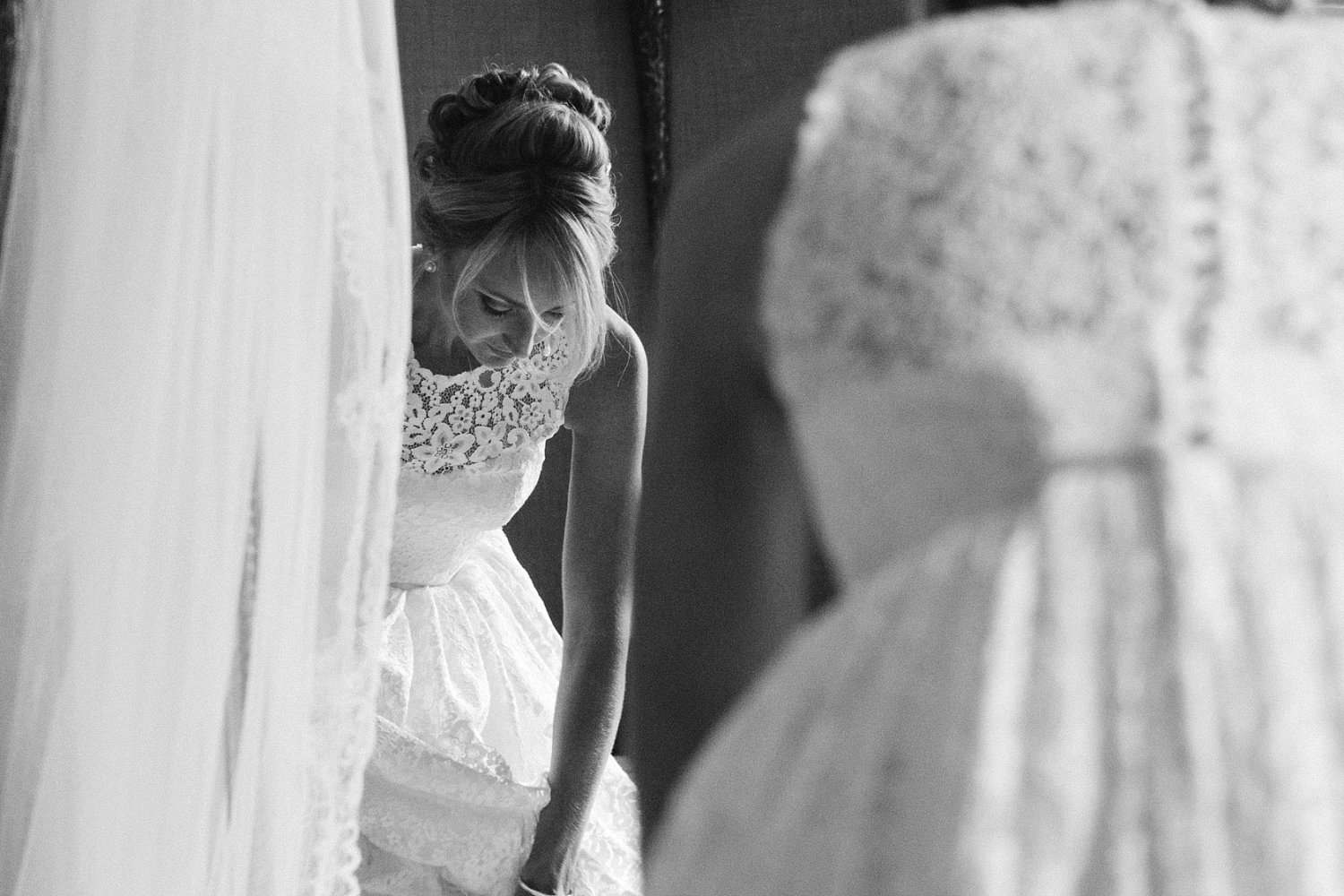 Bridal prep at a luxury wedding at Carlowrie Castle. Bride wearing Caroline Castigliano photo