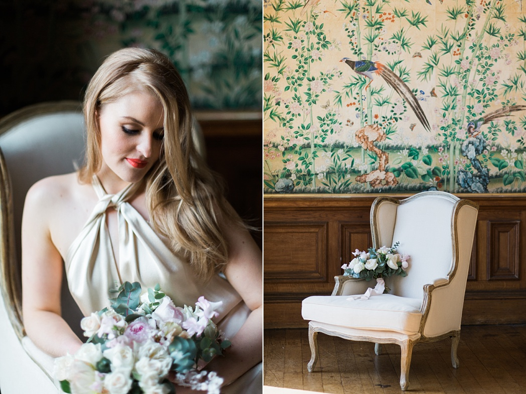 Luxury weddings in the UK. Inspiration shoot at Sandon Hall featuring amazing chinoiserie wallpaper.