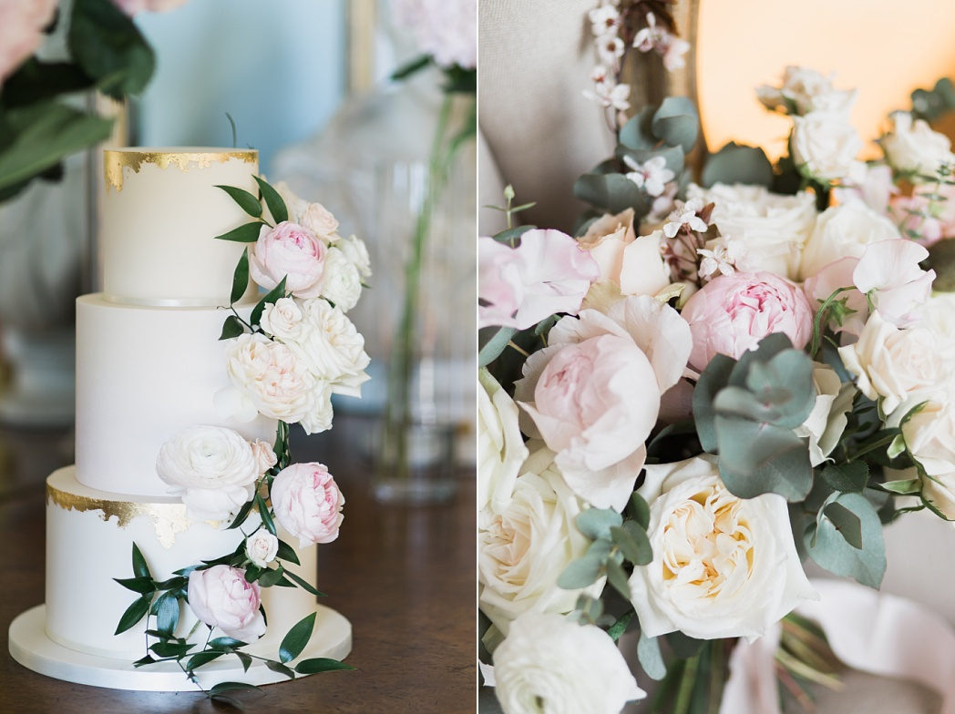 Amerton Cakes Gold Foil Wedding Cake with Peonies and Roses for Sandon Hall Wedding photo