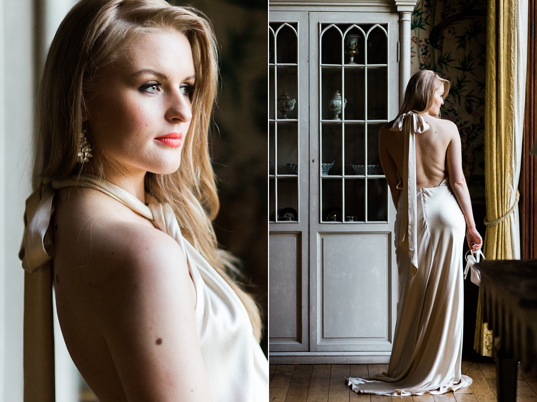 Laid back luxe wedding dress at mansion wedding in the UK