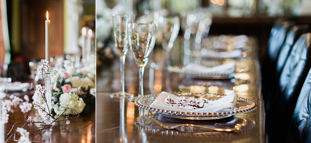 Tablescape for luxe wedding in the UK. Wedding Inspiration at Stately Home in Staffordshire England