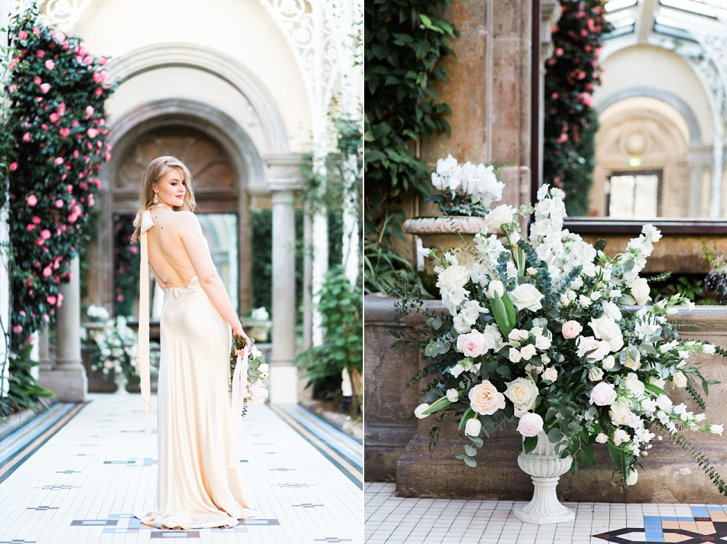 Sandon Hall Spring Wedding in the Conservatory with Halfpenny London Gown photo